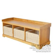 teak buffet furniture with rattan basket model buffet keranjang