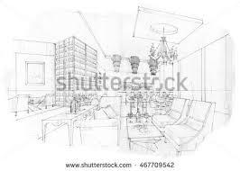 black white sketch interior design stock illustration 411739150