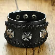 leather bracelet wristband images Men 39 s trendy rock and biker leather bracelet triple iron cross jpg