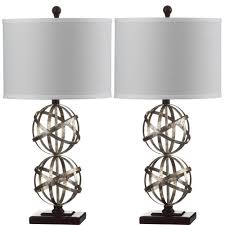 safavieh haley double sphere 28 in antique silver table lamp with