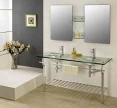 Glass Bathroom Vanity Bathroom With Clear Glass Sinks And Bottom Shelf Beautiful Glass