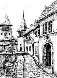 old peaceful city drawing restaurant terrace sketch royalty free