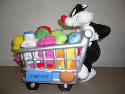 sylvester and tweety shopping cart cookie jar warner bros 2000