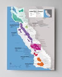 santa barbara california map regional wine map of central coast ca usa wine posters