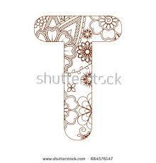 coloring page letter t alphabet stock vector 664576147