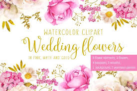 wedding flowers background wedding flowers in pink and gold illustrations creative market