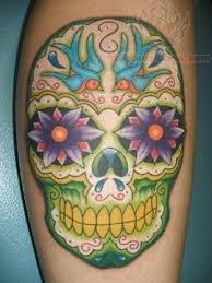 flowers and sugar skull
