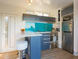 kitchen in shipping container home stools counter top oven