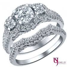 white gold wedding sets 1 2 3 ct three diamond engagement ring wedding set 14k
