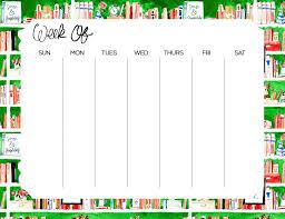 Green Bookshelves - week at a glance notepad green bookshelves u2013 le petit garage