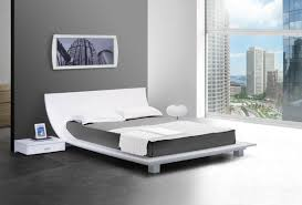 Bed Frame Set White Bed Frame With Curved Headboard And Grey Bed Sheet On Grey