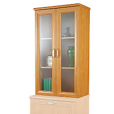 Office Hutch With Doors Realspace Magellan Collection 2 Shelf Hutch With Doors Honey Maple