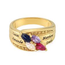 mothers rings with birthstones gold plated mothers ring with birthstones mynamenecklace