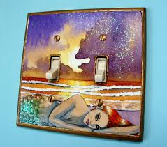 mermaid light switch plate cover double handmade unique mermaid