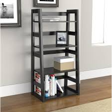 bookcases with ladder riverside promenade canted bookcase warm cocoa hayneedle