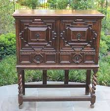 Oak Bar Cabinet Antique Tiger Oak Jacobean Tudor Barley Twist Bar Cabinet