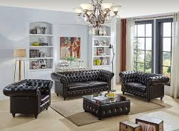 New Real Italian Leather Chesterfield Sofa Set Coffee Table - Chesterfield sofa and chairs