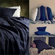 midnight blue luxurious linen flat sheet
