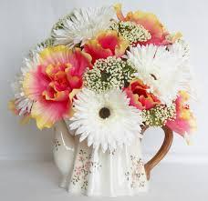 artificial flower home decor teapot silk flower arrangement coral hibiscus white gerbera