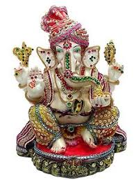 ganesh ji coloured with ornaments for ganesh chaturthi pooja home