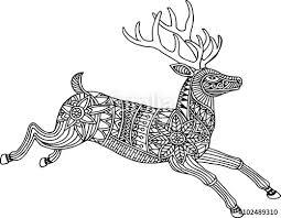 vector illustration deer zentangle style