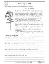 reading comprehension voice of nature 4th grade worksheet