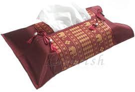 decorative tissue box silk decorative kleenex tissue box cover with burgundy maroon