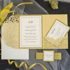 wedding invitations luxury luxury pale gold laser cut pocket wedding invitations with