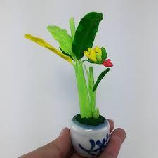 mini banana tree miniature handmade thai clay small banana tree ceramic pot