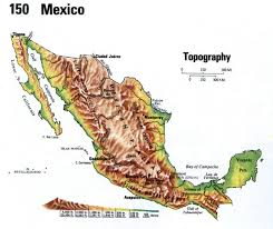 Maps Mexico Elevation Map Of Mexico Topographic Map Mexico Travel Maps And