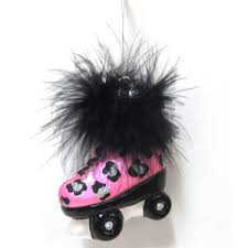 pink animal print glass roller skate ornament polyvore