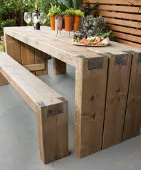 Designer Wooden Benches Outdoor by Best 25 Outdoor Tables Ideas On Pinterest Farm Style Dining