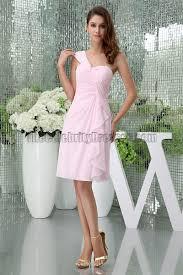 light pink knee length dress sheath column pink one shoulder cocktail short bridesmaid dresses