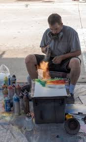 Spray Paint Artist - free stock photo of spray paint artist working with fire on a