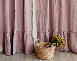 Ruffled Curtains Pink Ruffled Curtains Etsy