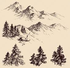nature design elements mountains and pine trees sketch u2014 stock