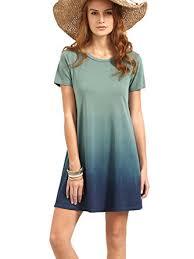 ombre dress romwe women s tunic swing t shirt dress sleeve tie dye ombre