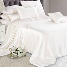 White Silk Bedding Sets Ivory Silk Bed Linen High Quality Machine Washable