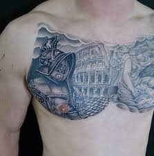 ancient rome themed black ink gladiator with arena tattoo on chest