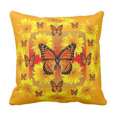 golden orange monarch butterflies sunflowers throw pillow home