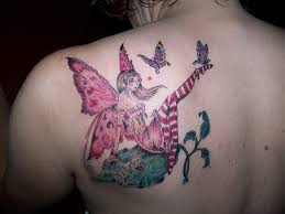 colorful with flying butterflies on left back shoulder