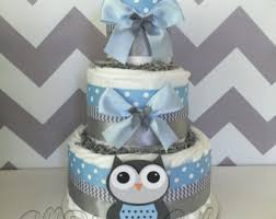 Owl Baby Shower Boy - owl baby shower diaper cake designed in a popular pink and grey