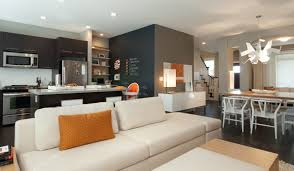 kitchen living room ideas decor modern sofa and kitchen island with accent walls for small