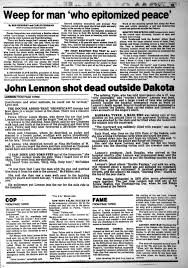 thanksgiving short stories john lennon shot dead by mark david chapman in 1980 ny daily news