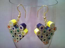 creative earrings small flower shaped coloured wooden crayon pencil earrings