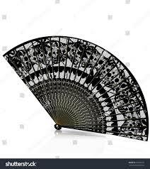 black lace fan black lace fan stock vector 342499181