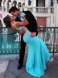 buy mermaid v neck sweep train blue chiffon prom dress with
