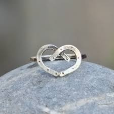 heart shaped horseshoes horseshoe heart sterling silver ring