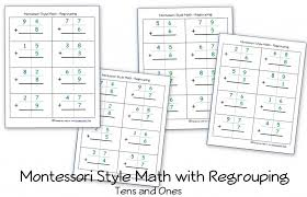 free montessori style addition sheets and place value activities