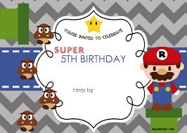 free mario bros 5th birthday invitation template dolanpedia